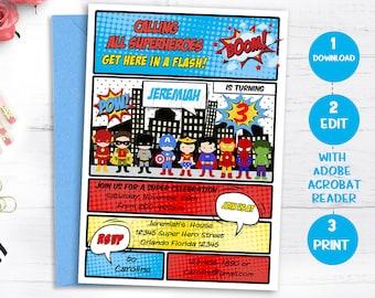 SUPERHERO Birthday Invitation, INSTANT DOWNLOAD, Superheroes Invite, Super hero Comic Book, Edit yourself, Editable invitation, Template