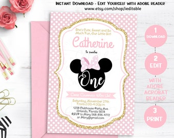 pink and gold minnie mouse birthday invitation polka dot etsy