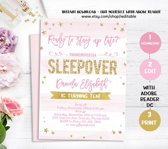 sleepover invitation slumber party invitation sleepover birthday