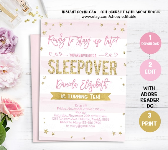 Sleepover Invitation Slumber Party Birthday Pajama Printable Instant Download Editable Girl Pink