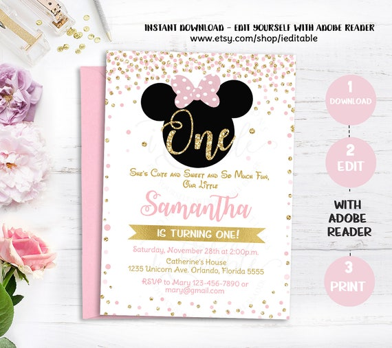 pink and gold minnie mouse birthday party invitation first 1st