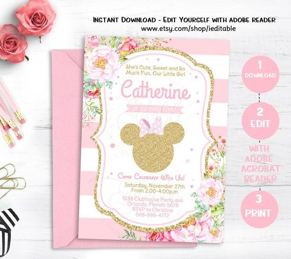 Pink Gold Glitter Minnie Mouse Birthday Invitation Girls Birthday