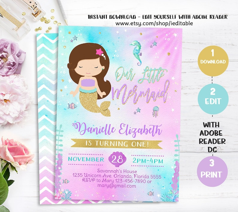 Mermaid Birthday Invitations Invitation Little