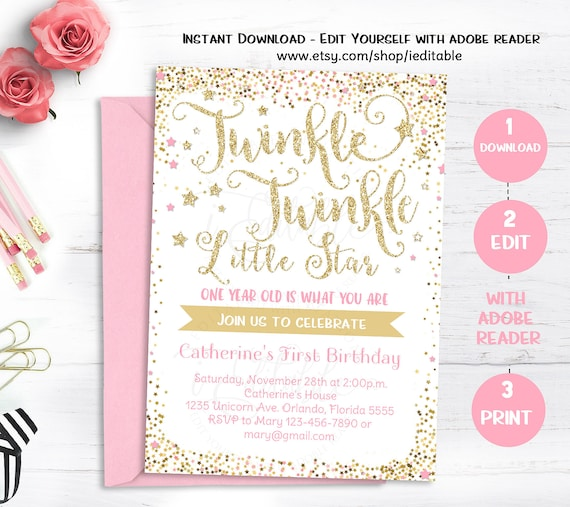 Twinkle Little Star Invitation First Birthday Invite