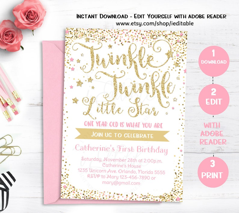 Twinkle Little Star Invitation First Birthday Invite
