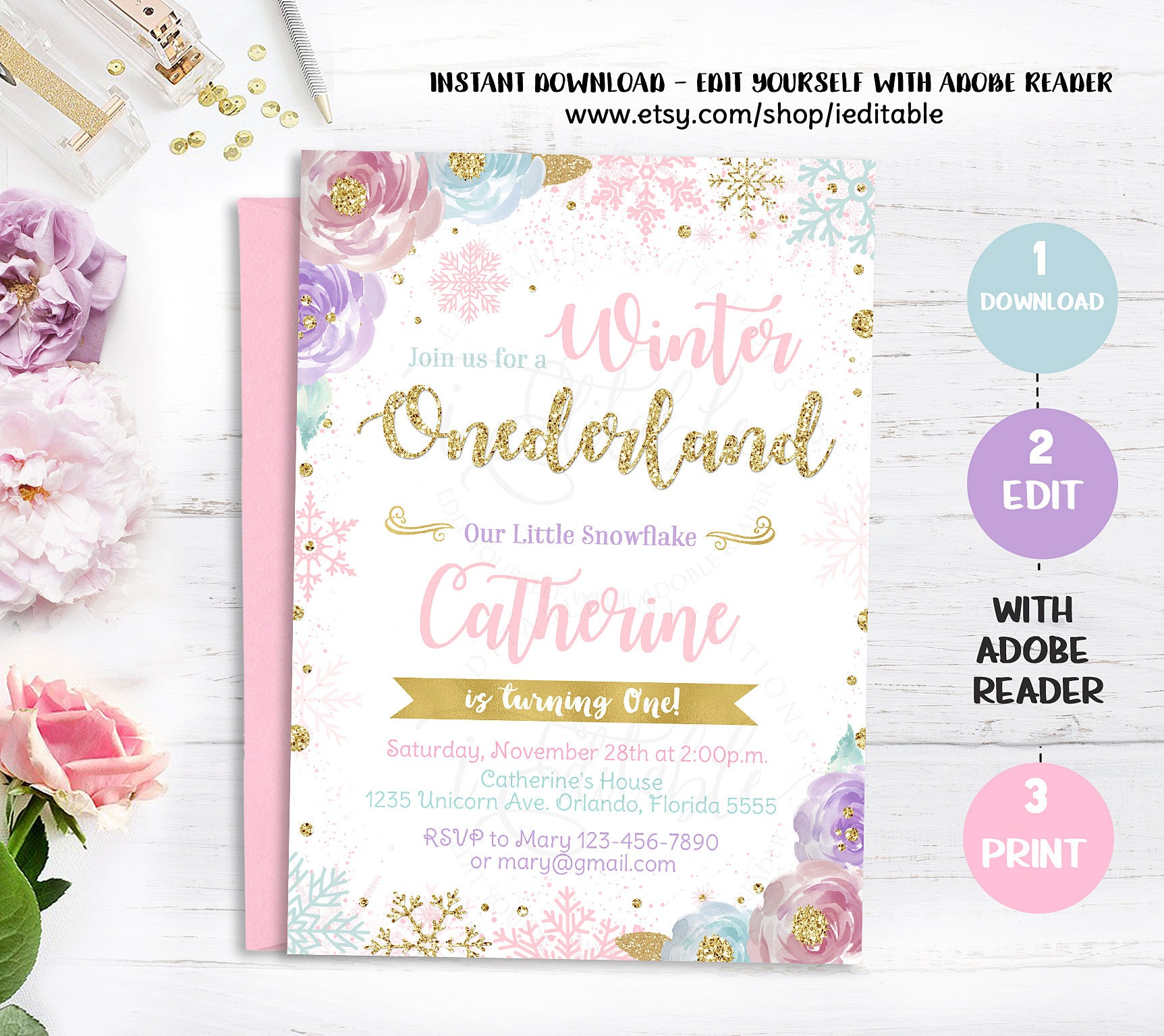 Winter Onederland Invitation Snowflake Birthday Invite Pink   Etsy