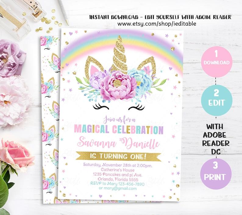 Unicorn Invitation Birthday Party First 1st
