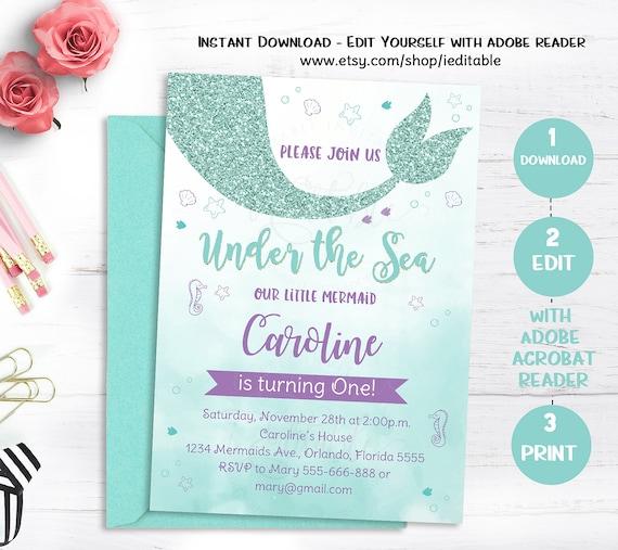 Mermaid Birthday Invitation Under The Sea Party Invite Teal Purple Editable Invitations Template Instant Download