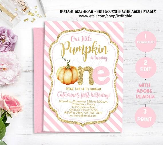 Pumpkin Pink And Gold First Birthday Invitation 1st Birthday Invite