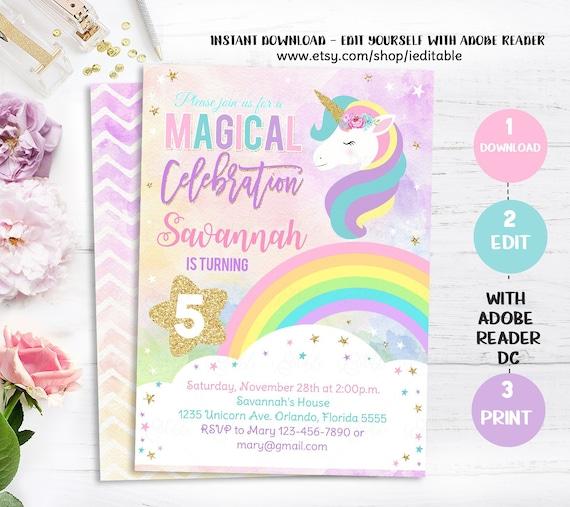 RAINBOW UNICORN Birthday Invitation Unicorn Invitations