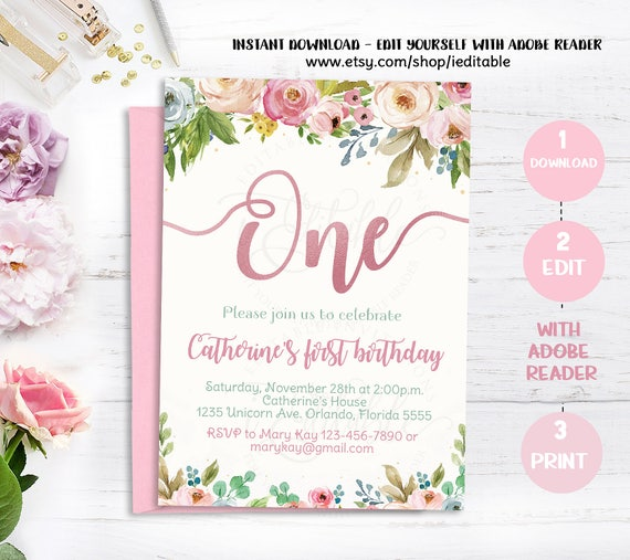 Floral 1st Birthday Invitation Girl First Birthday Invitation