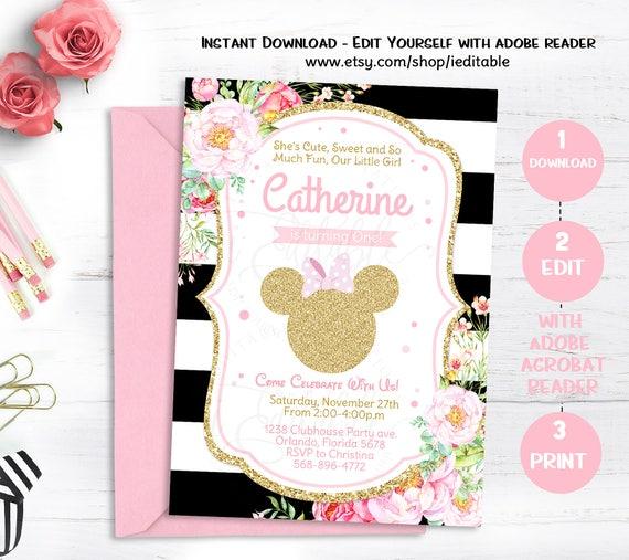 pink gold minnie mouse birthday invitation invite girls birthday