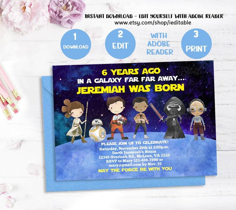 Galaxy Wars Invitation Star Birthday 1st
