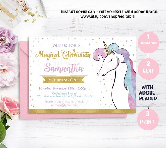 Unicorn Invitation Magical 1st Birthday First