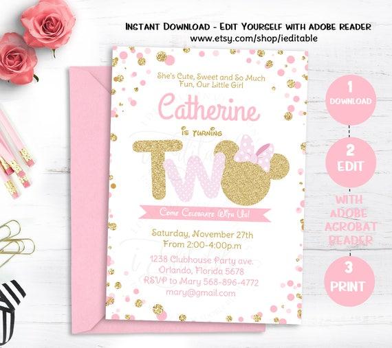 Pink And Gold Minnie Mouse Birthday Party Invitation Second 2nd Twodles Glitter Polka Dot Invite Girl Instant Download