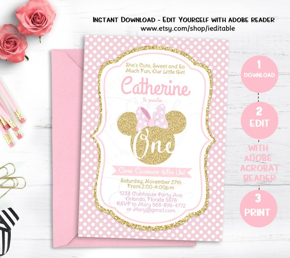 pink and gold minnie mouse birthday party invitation first birthday