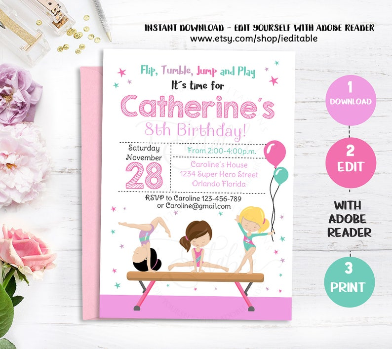 GYMNASTIC Invitation Gymnastics Birthday Invite Girls