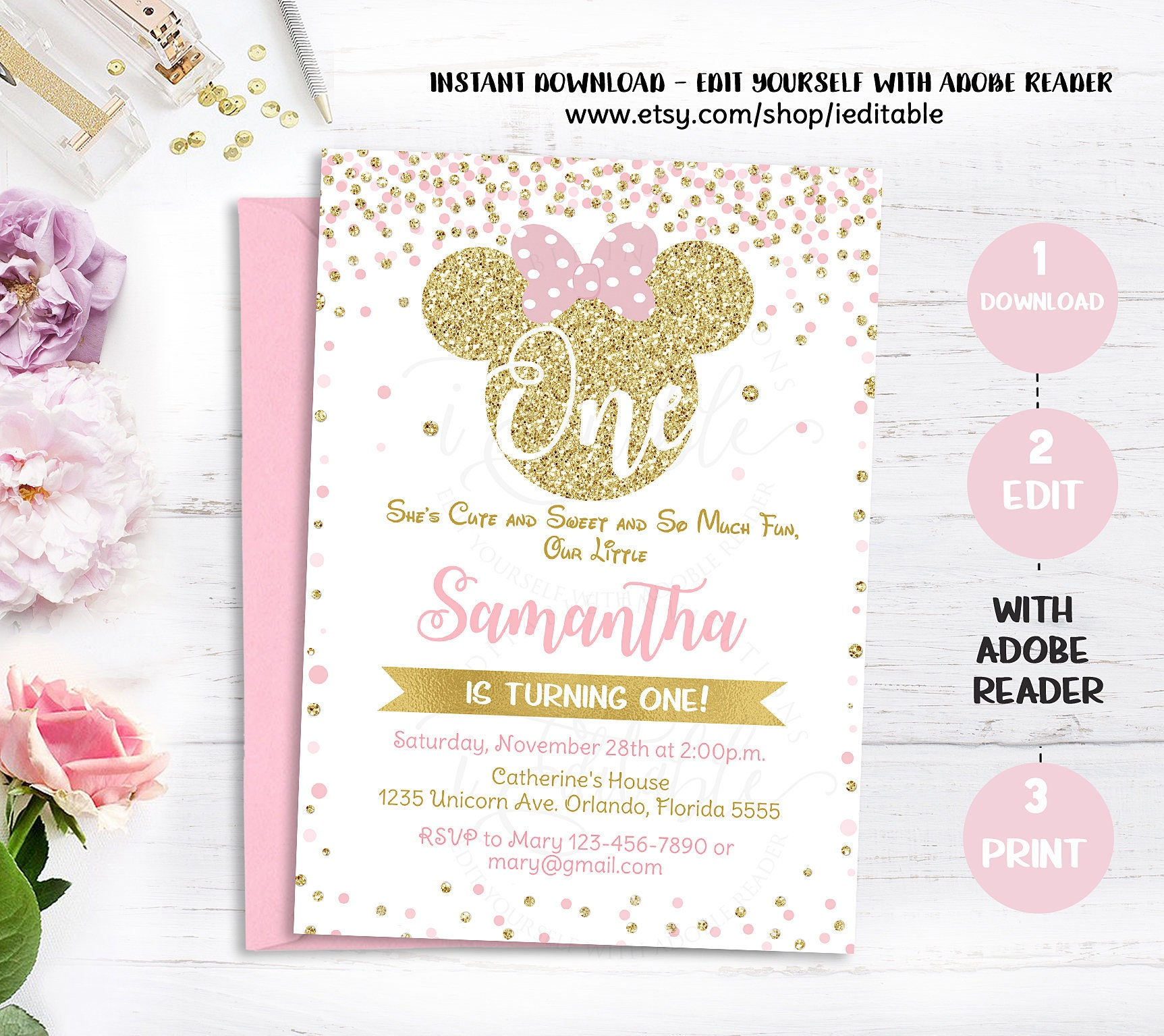 Pink and Gold Minnie mouse 1st birthday invitation first | Etsy