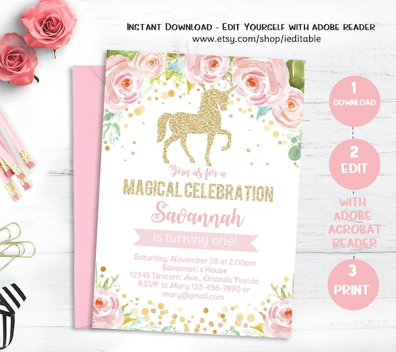 Unicorn Birthday Invitation Magical Invite Floral Pink Gold Face Editable Template Instant Download