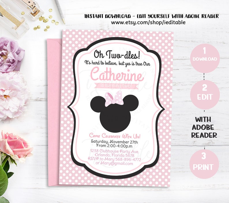 Minnie Mouse 2nd Birthday Invitations Black White Polka Dots