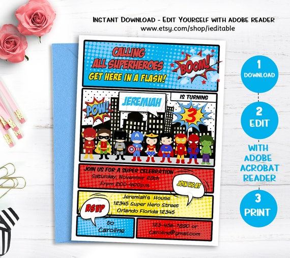 SUPERHERO Birthday Invitation INSTANT DOWNLOAD Superheroes Invite Super Hero Comic Book Edit Yourself Editable Template