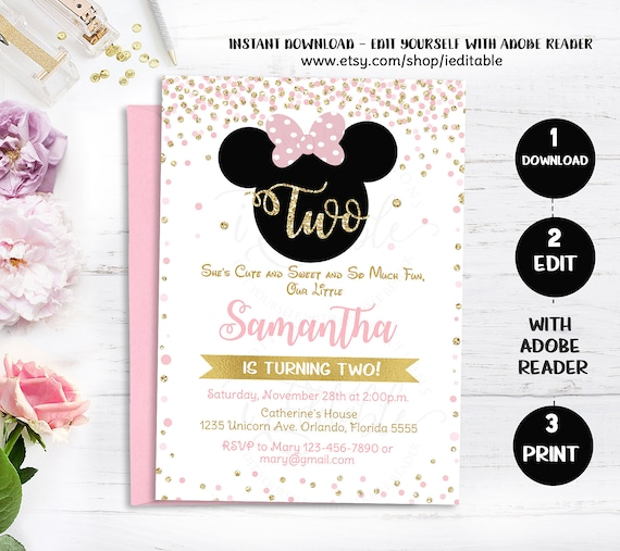 Pink Gold And Black Minnie 2nd Birthday Invitation Oh Two Dles Toodles Invite Glitter Polka Dot Girl Printable Intant Download