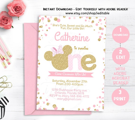 Pink And Gold Minnie Mouse Birthday Invitation Polka Dot First 1st Girls Invite Editable Template Instant Download