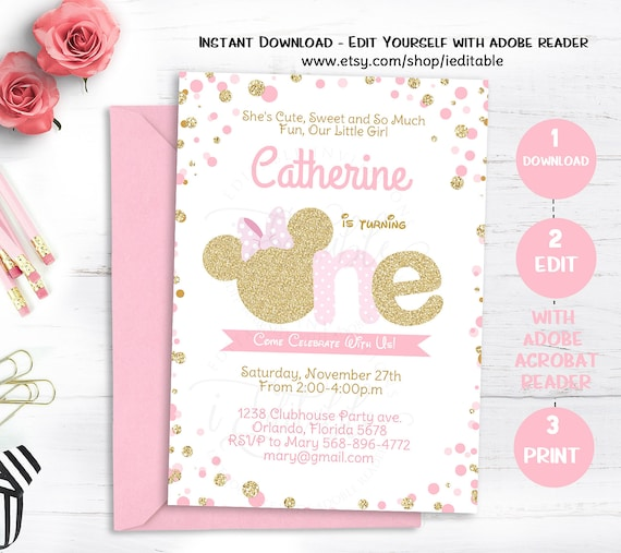 Pink And Gold Minnie Mouse Birthday Invitation, Polka Dot