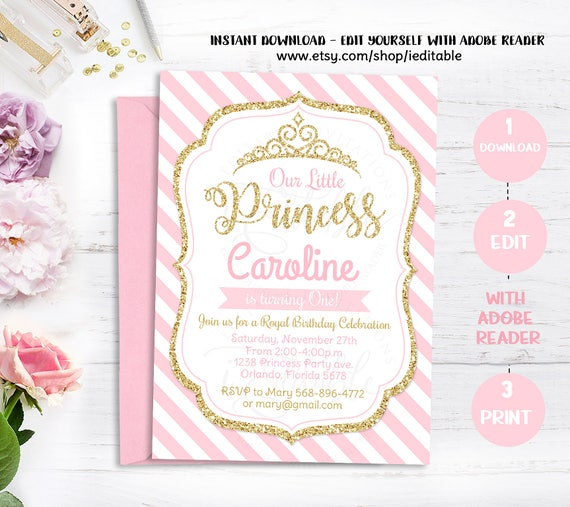 Pink And Gold Princess Birthday Invitation Chevron Girl