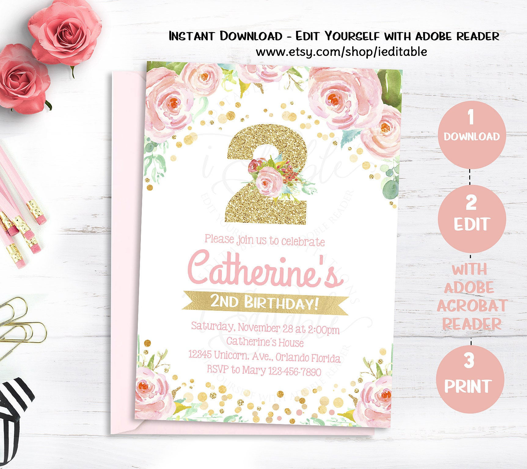 Pink Floral 2nd Birthday Invitation Flower watercolor | Etsy