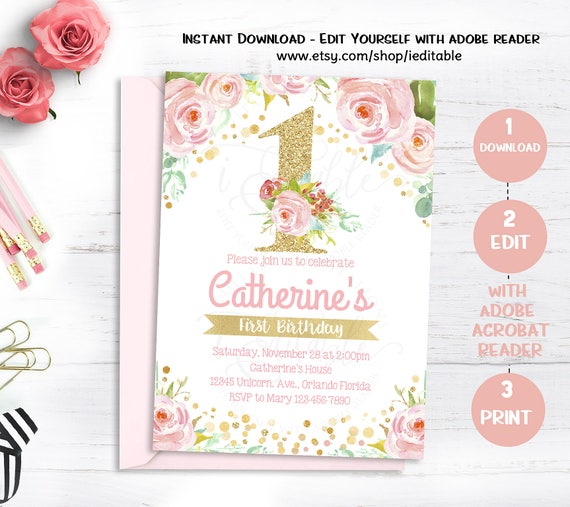 1st birthday floral invitation  girl first birthday invite