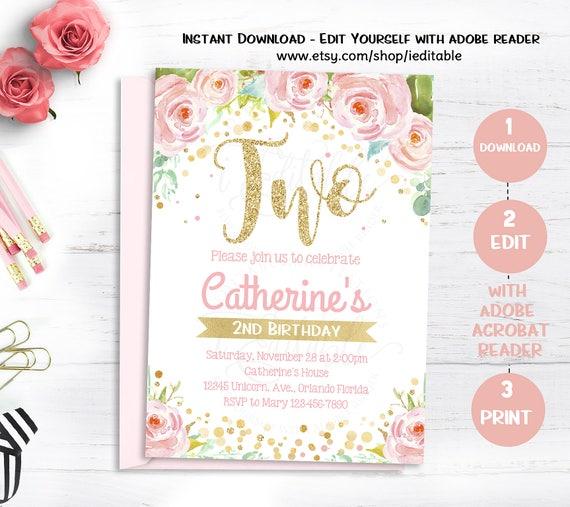 Floral Girls Birthday Invitations Second Invitation Pink