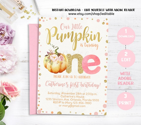 pumpkin invitation first birthday our little pumpkin 1st etsy