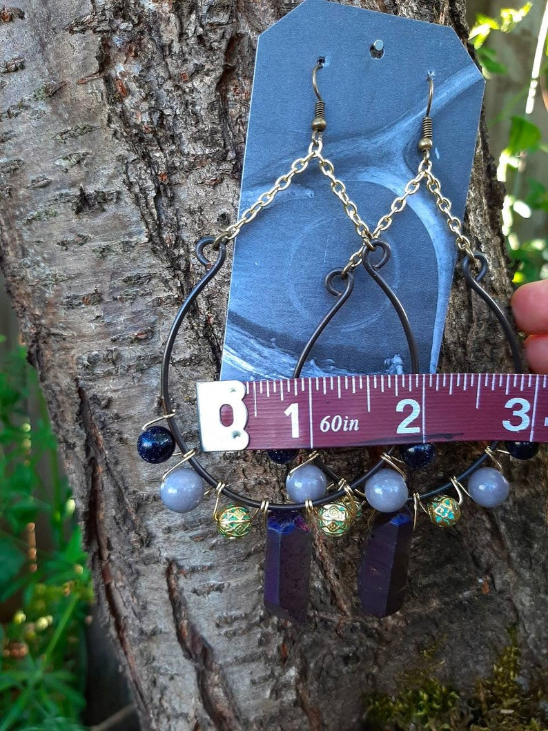 Witch Jewelry Witch Earrings Witchy Jade Jewelry Druzy Earrings Gray Jade Earrings Crystal Earrings Boho Earrings Jade Earrings