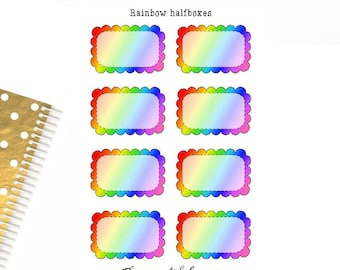rainbow doodle half boxes, scalloped, planner stickers,functiona, fun, sticker sheet, ECLP,HP,filofax,personal planner,