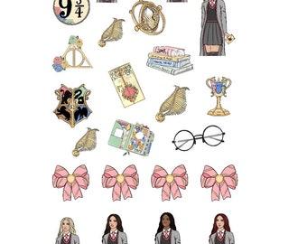 Wizard,deco,fashion,girl,planner,stickers,happy planner,erin condren,personal,bullet journal,filofax,sticker,tn,cute,hair,colour, bows,roses