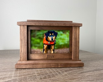 Funeral urn for animals Wooden Urn with magnet. Custom portrait of dog on the urn Dog urn Cremation urns for pet ashes