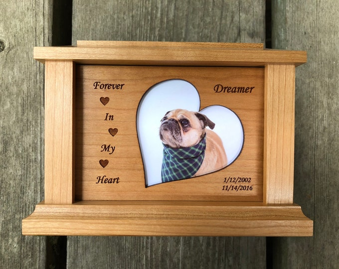 Featured listing image: Custom Wood Pet Urn | Urn for Pet Ashes | Dog Urn | Photo Pet Urn | Memorial | Custom Urn (Holds Pets up to 120 lbs.) Free Shipping Cherry