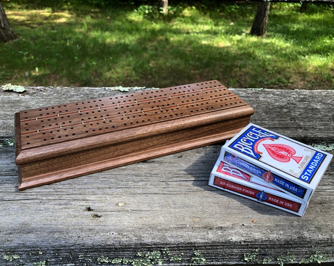 Featured listing image: Custom Cribbage Board Wood Cribbage Board Personalized Cribbage Board with Card Storage and Pegs (Cards INCLUDED & Free Shipping) Walnut