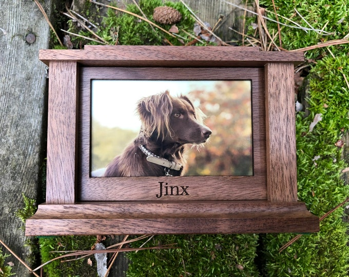 Featured listing image: Custom Wood Pet Urn | Urn for Pet Ashes | Dog Urn | Photo Pet Urn | Memorial | Custom Urn (Holds Pets up to 120 lbs.) Free Shipping Walnut