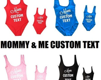 88d052820f CUSTOM TEXT Mommy and Me Matching Set One Piece Swimsuit/Bikini/Bodysuit  available in multiple colors