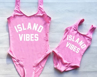 4101b37e1f ISLAND VIBES Mommy and Me Matching Set One Piece Swimsuit/Bikini/Bodysuit  available in multiple colors