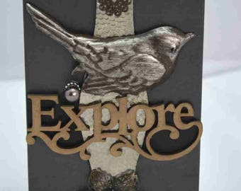 """Mixed media assemblage collage box - """"Explore"""""""