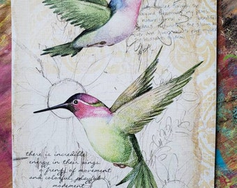 Recycled nature notebook with Japanese side sewn binding. Hummingbirds flutter