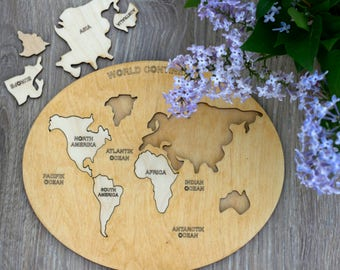 Childrens map etsy wooden world map puzzle intellectual kids table game educational gift for childrens world gumiabroncs Image collections