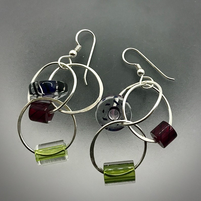 Sterling silver circles with handmade glass beads