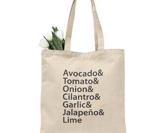 guacamole tote bag, avocado, grocery bag, canvas tote, reusable grocery bag, reusable bag