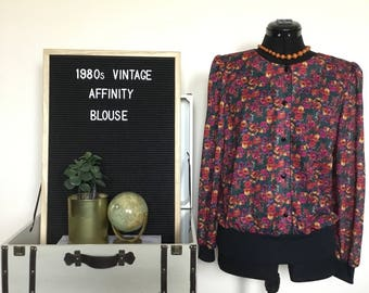 1980's Affinity Long Sleeve Floral Blouse
