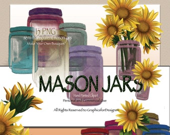 Semi Transparent Mason Jars, Sunflower Clip Art, Photoshop Overlays, Invitation Clipart, Commercial Use Clipart, Create Your Own Bouquet