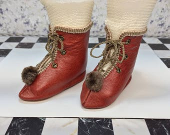 """Leather doll boots 6,5 cm  -  2 4\8 """"  French style for an antique doll copper red"""